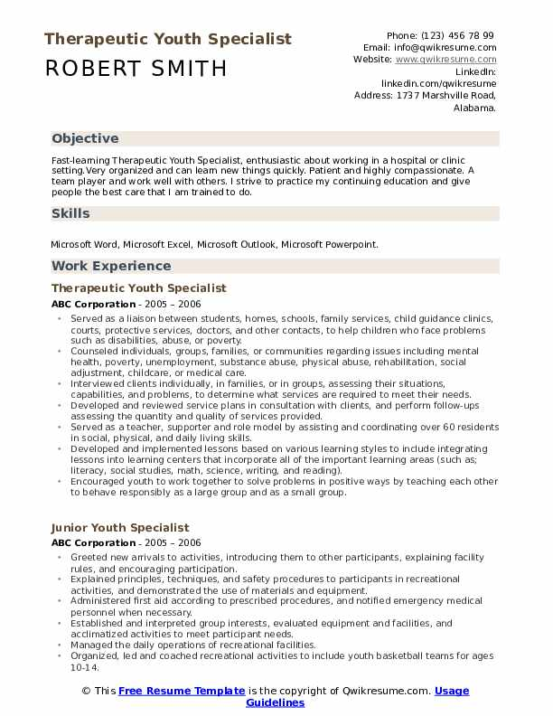 Therapeutic Youth Specialist Resume Template