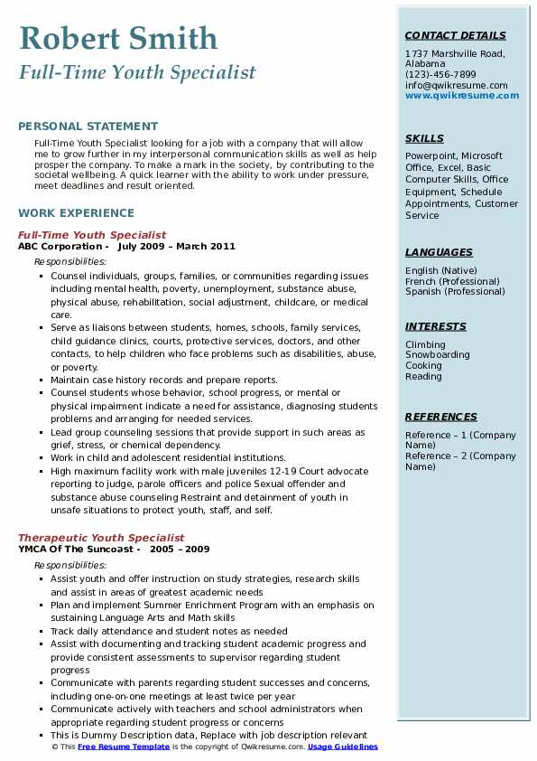 Full-Time Youth Specialist Resume Sample