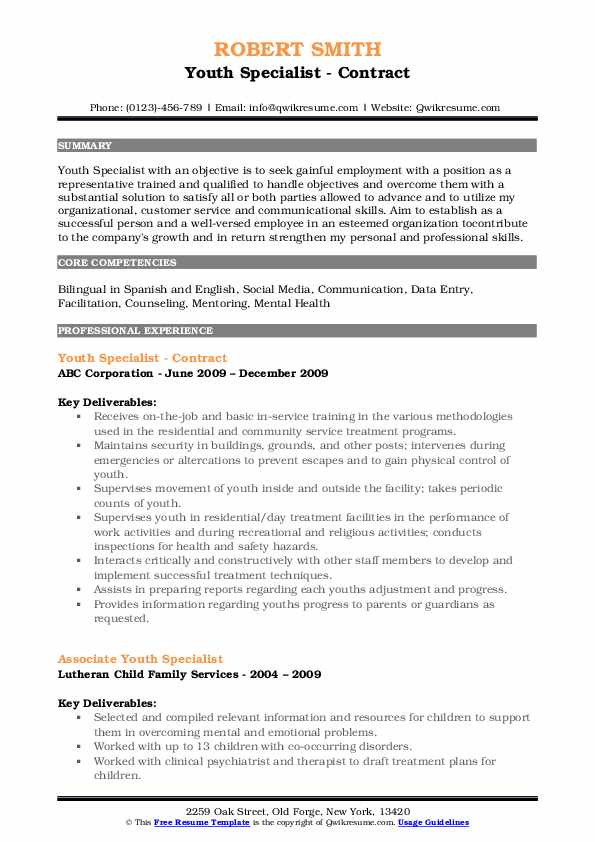 Youth Specialist - Contract Resume Example