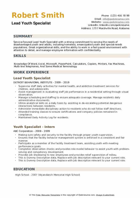 Lead Youth Specialist Resume Sample