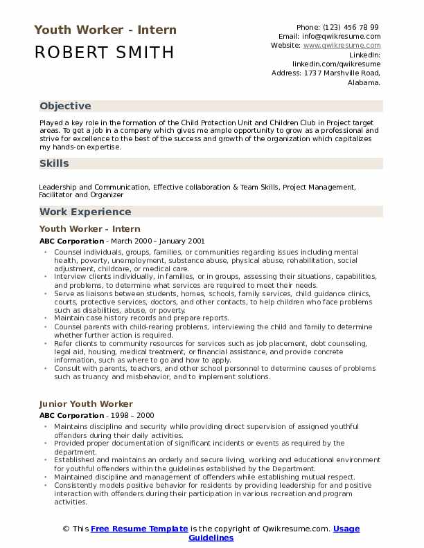 Youth Worker - Intern Resume Example