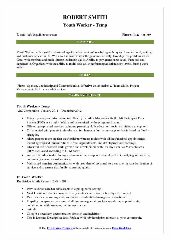 Youth Worker - Temp Resume Example
