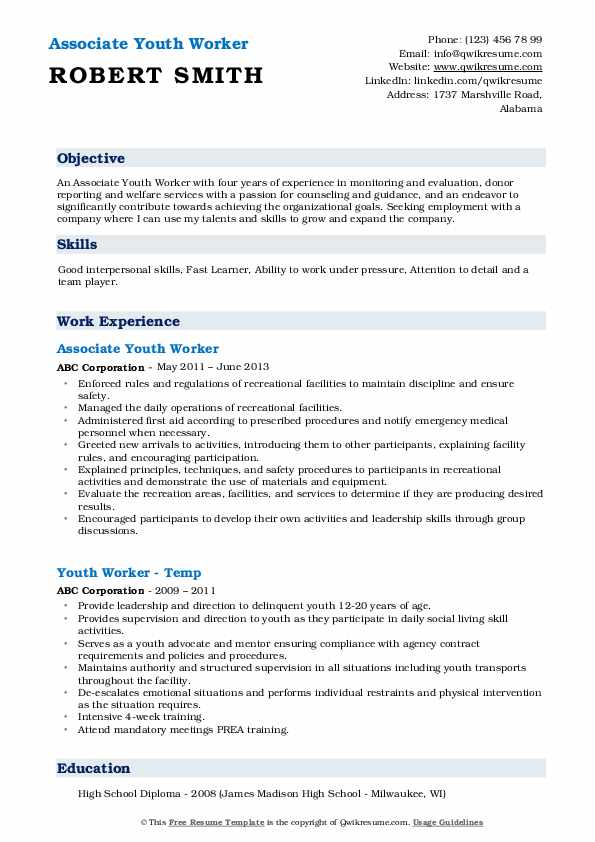 Associate Youth Worker Resume Format