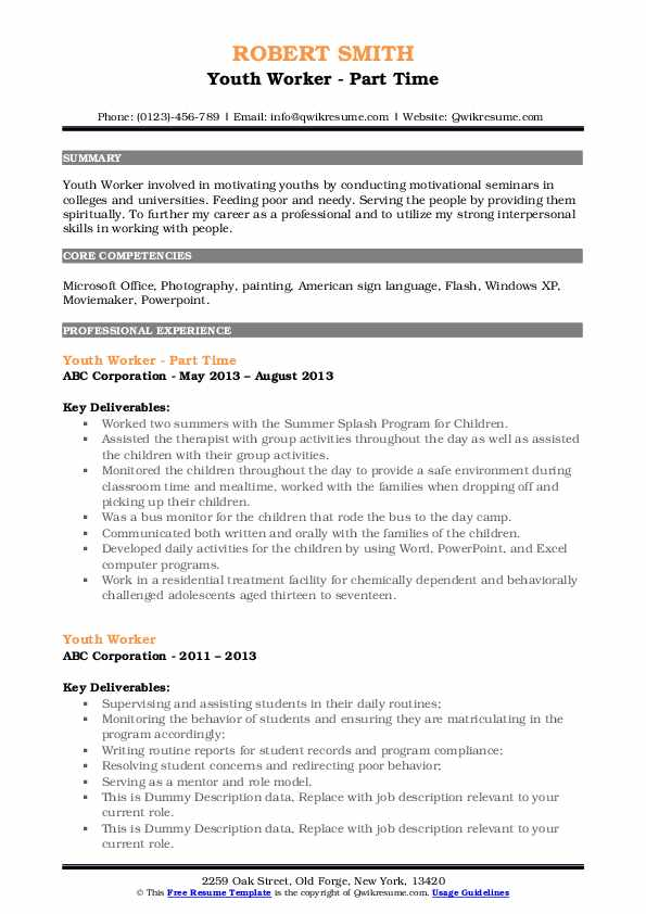 Youth Worker - Part Time Resume Example