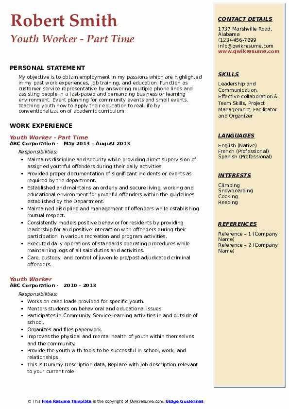 Youth Worker - Part Time Resume Sample