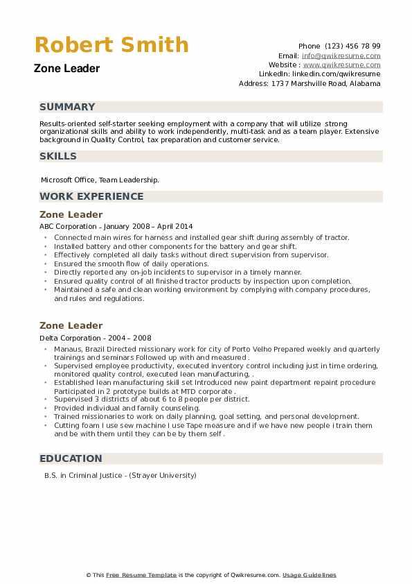 Zone Leader Resume example