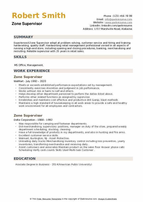 Zone Supervisor Resume example