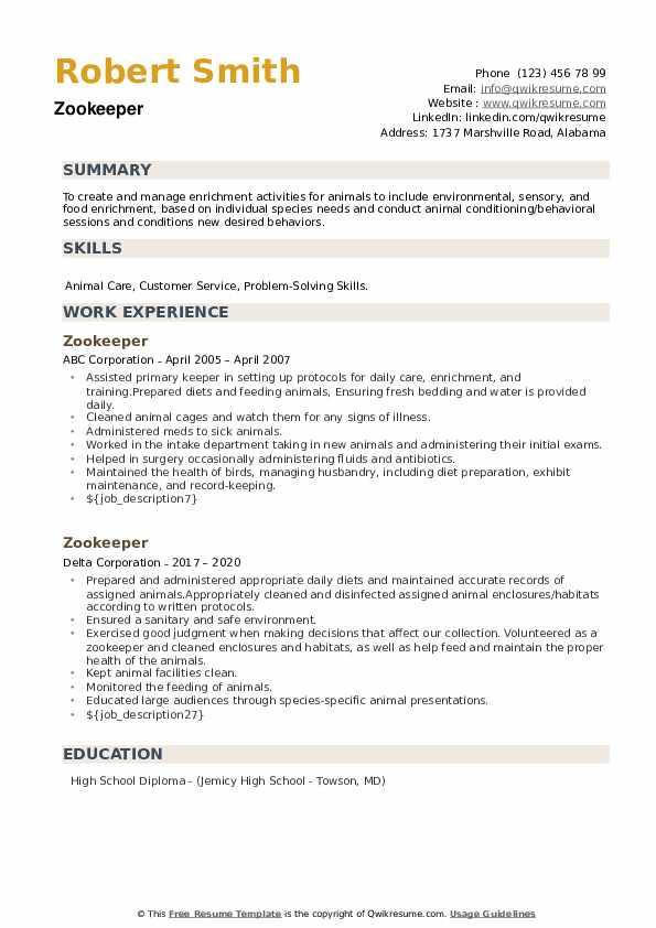 Zookeeper Resume example