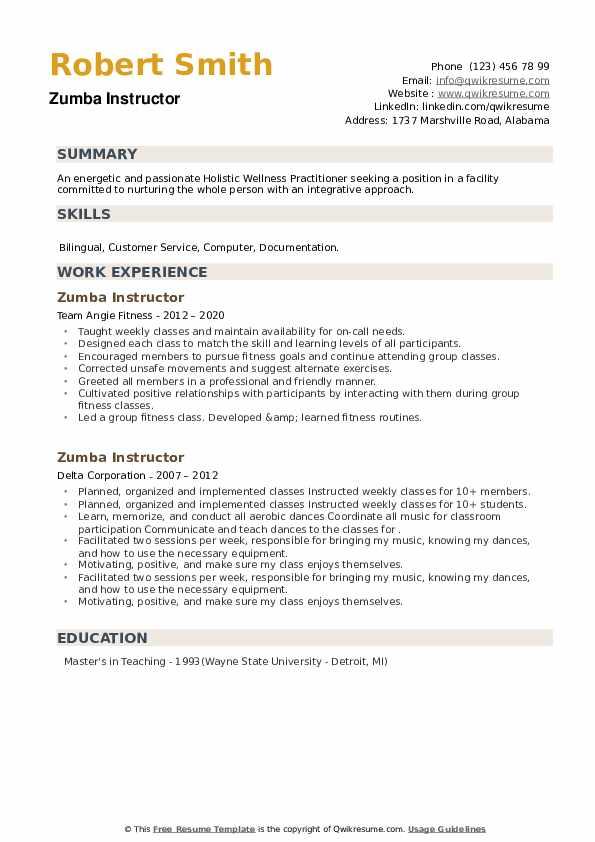 Zumba Instructor Resume example