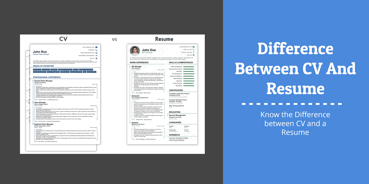 Differences Between Cv And A Resume Which To Use