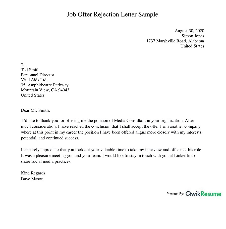 Rejection Offer Letter Sample from assets.qwikresume.com